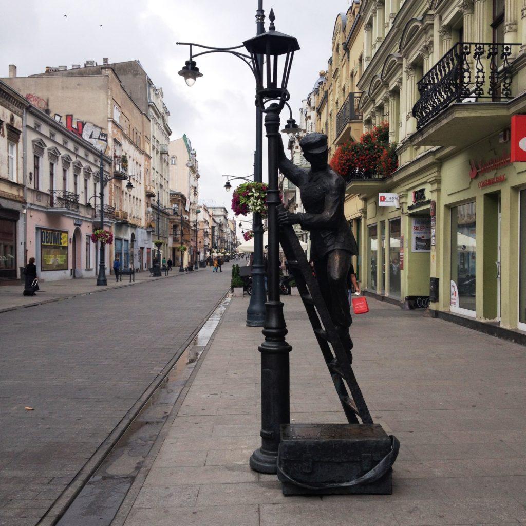 Ulica Piotrkowska street Lodz Poland statue