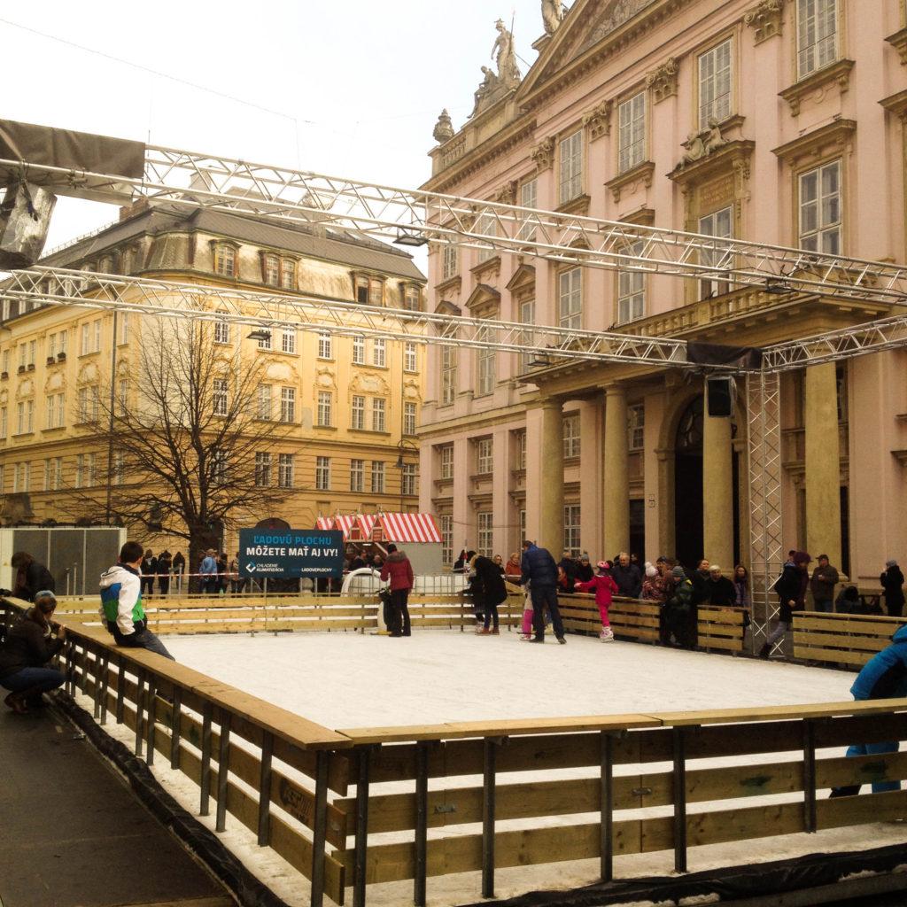 Bratislava Slovakia Christmas time ice rink skating