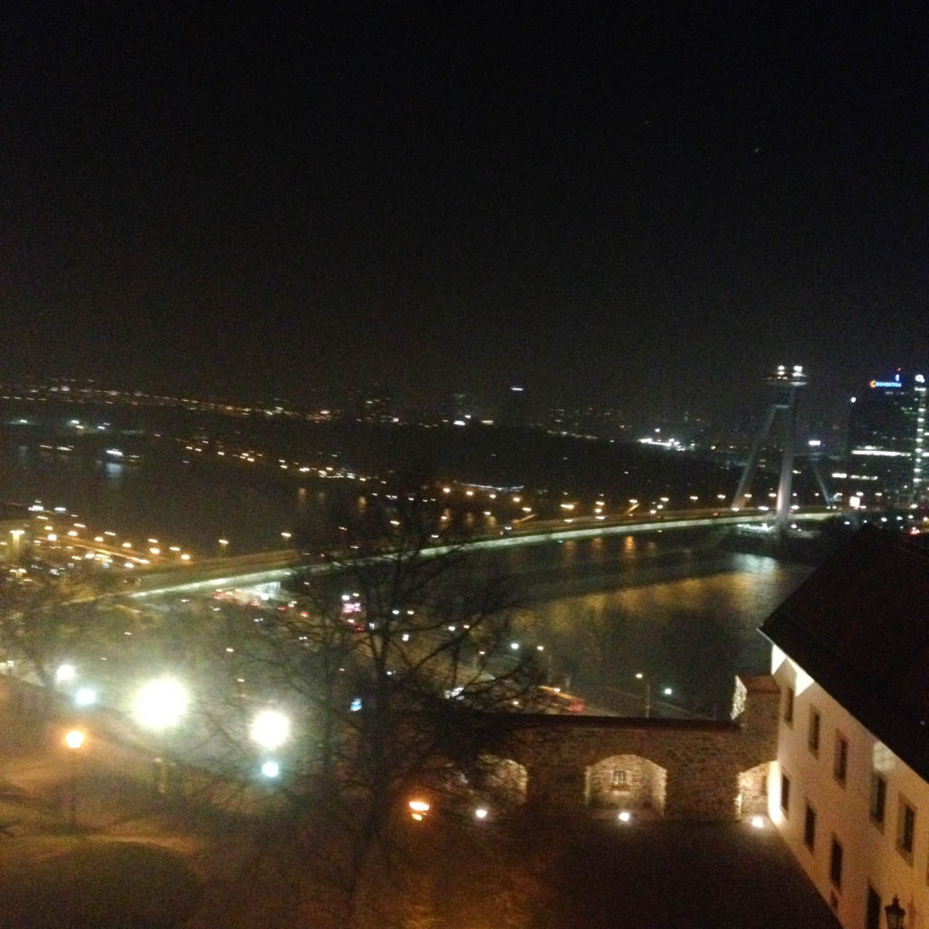 Bratislava Slovakia castle view Danube UFO Bridge