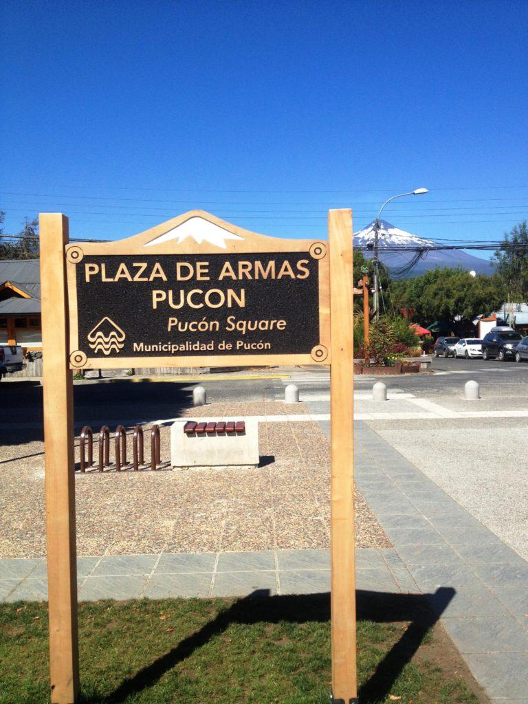 Villarica volcano Pucon Chile Plaza de Armas