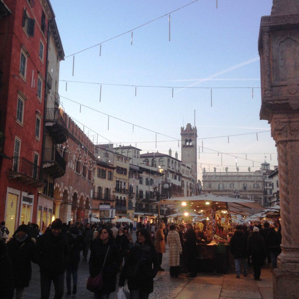 Christmas time Verona Italy Piazza delle Erbe