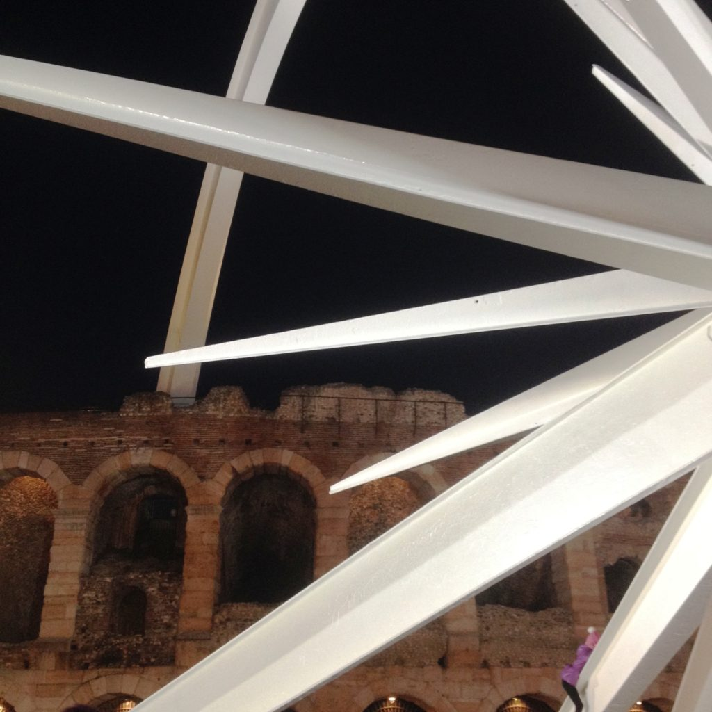 Christmas time Verona Italy Piazza Bra Roman colosseum Christmas star