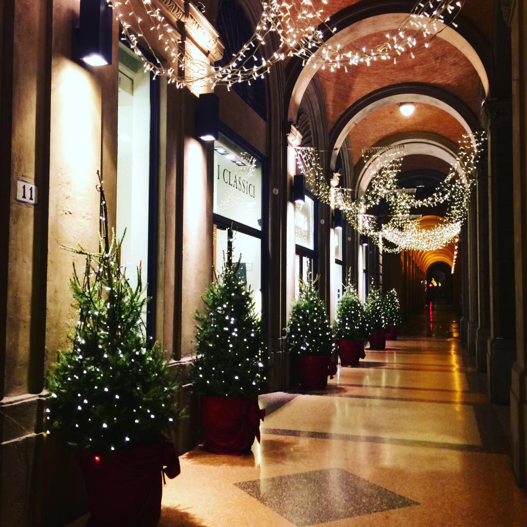Bologna Christmas time porticoes Italy