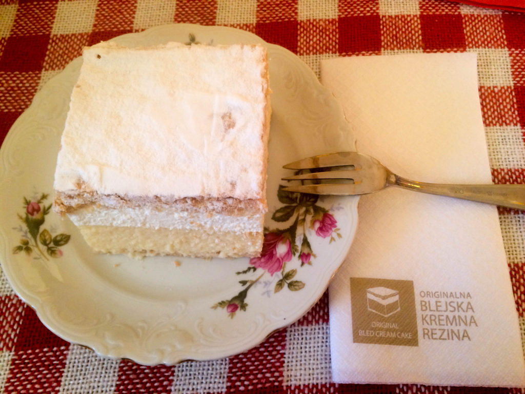traditional dessert blejska kremsnita Slovenia lunch meal Bled