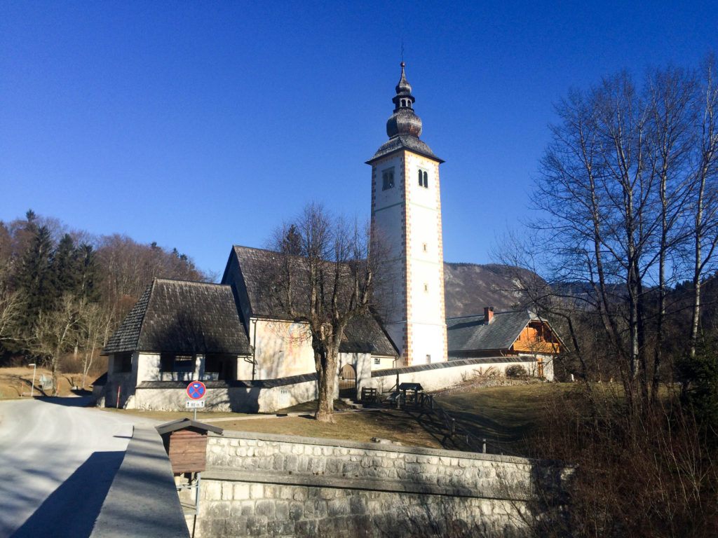 Bohinj Slovenia Triglav national park Bohinj lake Ribicev laz church of St John the Baptist bridge