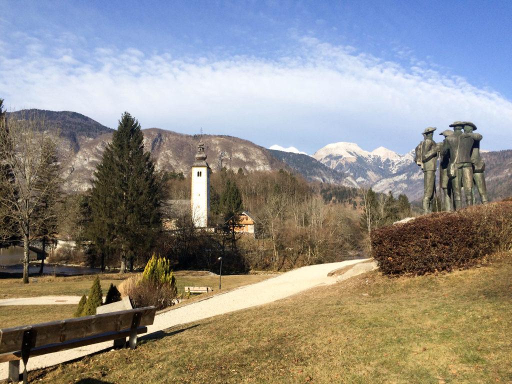 Bohinj Slovenia Triglav national park Ribicev laz view Triglav