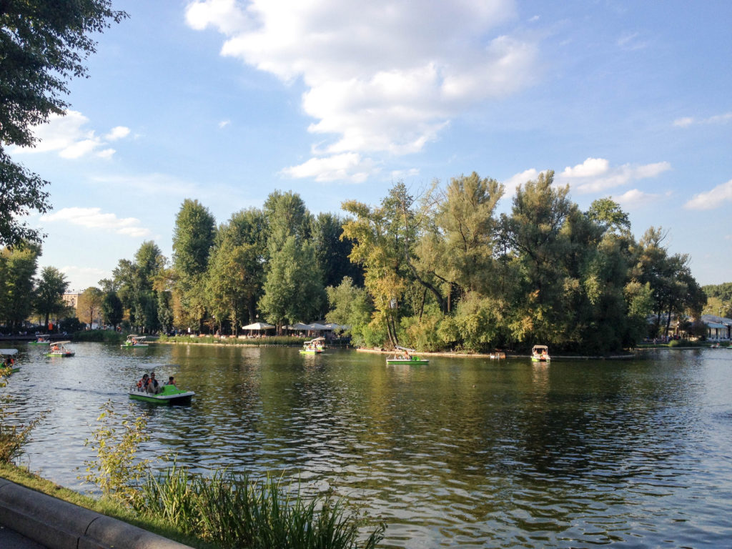 Gorky Park pond lake island Moscow River