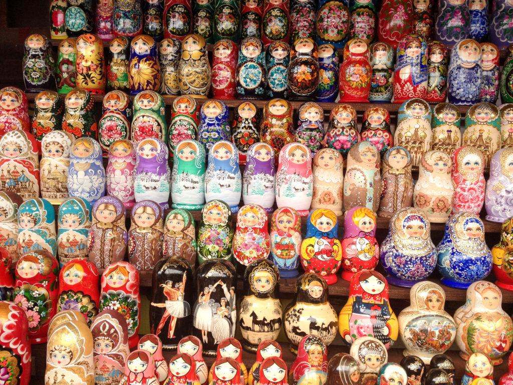 Izmalovsky Flea Market entrance Moscow Russia babushka doll souvenir