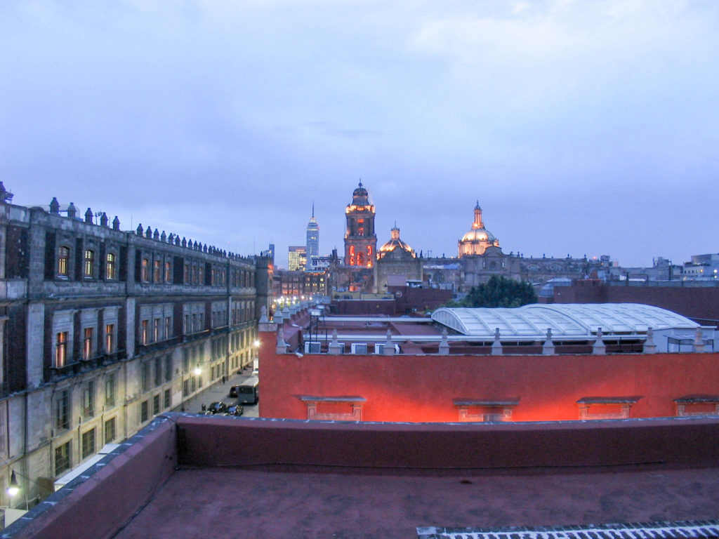 Mexico city rooftop view nighttime