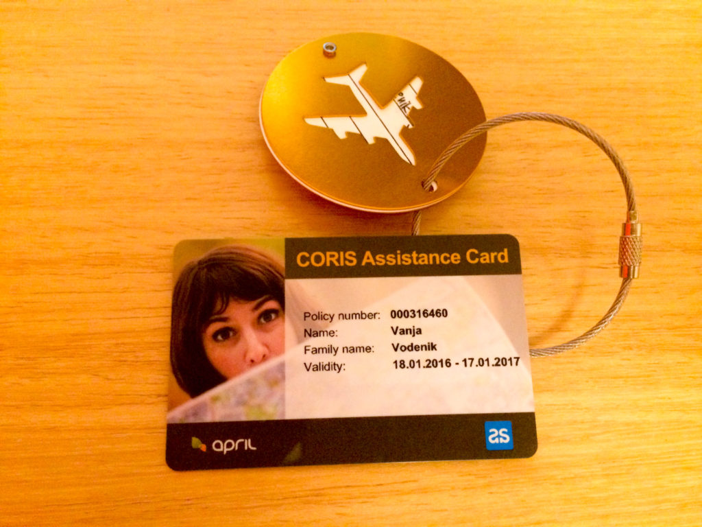 Assistance CORIS insurance card luggage tag