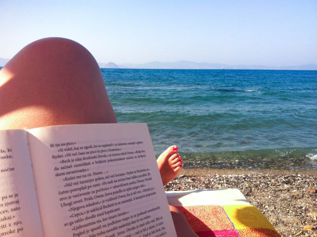 beach Kos city island Greece reading book Vanja Vodenik