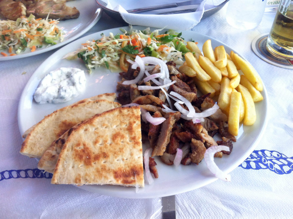 Kos Greece island typical traditional Greek food gyros