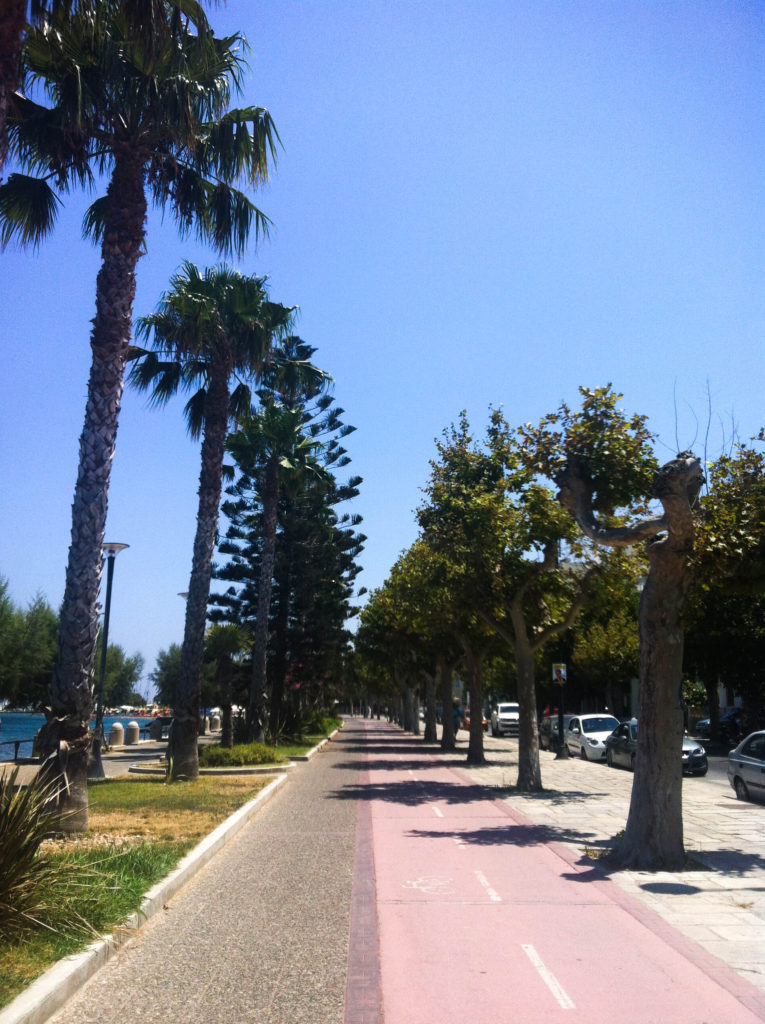 Kos city Greece island bike lane palm trees