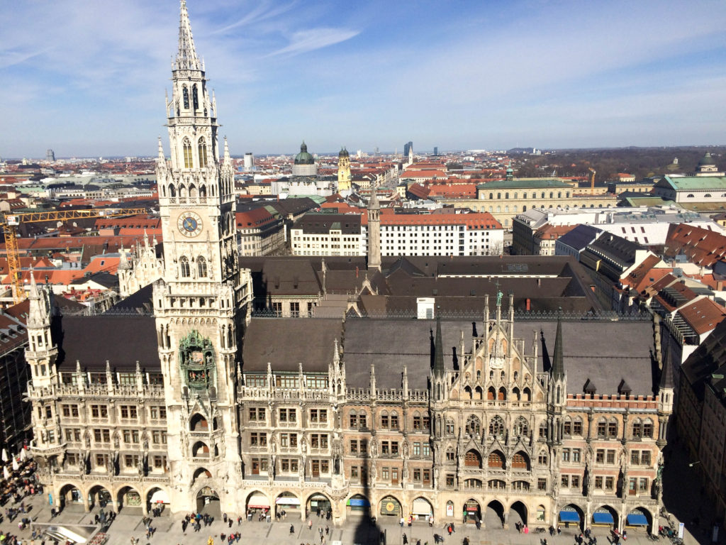 St. Peter's Church view Munich Bavaria Germany New City Hall Neues Rathaus