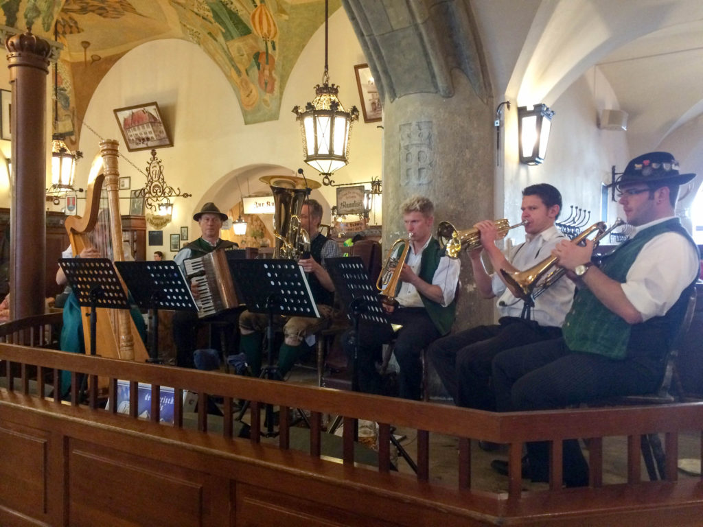 Hofbrauhaus beer hall musicians Munich Bavaria Germany