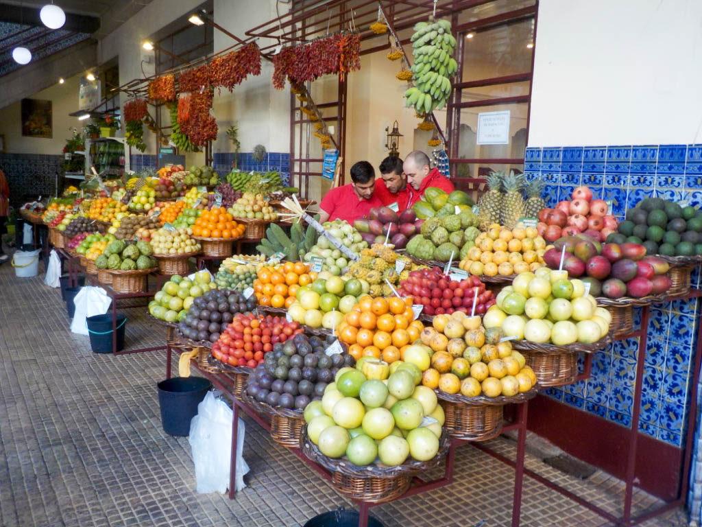 typical food tropical fruit farmers market Mercado dos Lavadores Funchal Madeira Portugal
