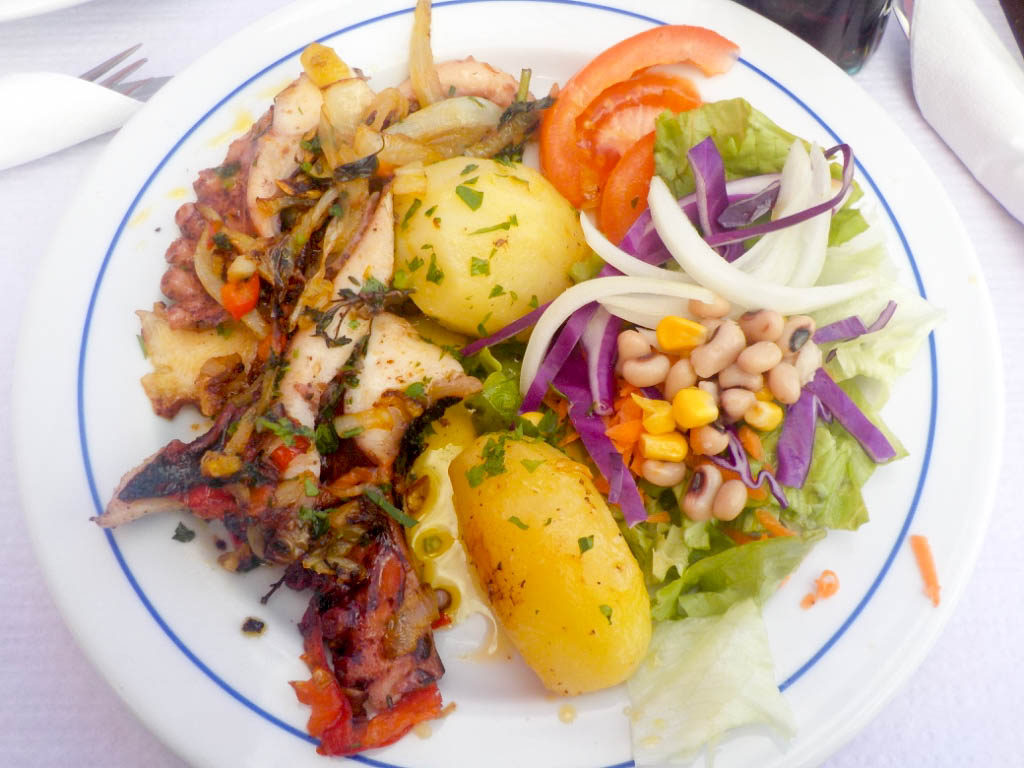 grilled octopus seafood typical food Madeira Portugal