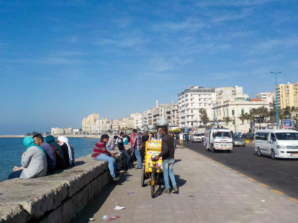 the Corniche Mediterranean Sea promenade Alexandria Egypt Africa