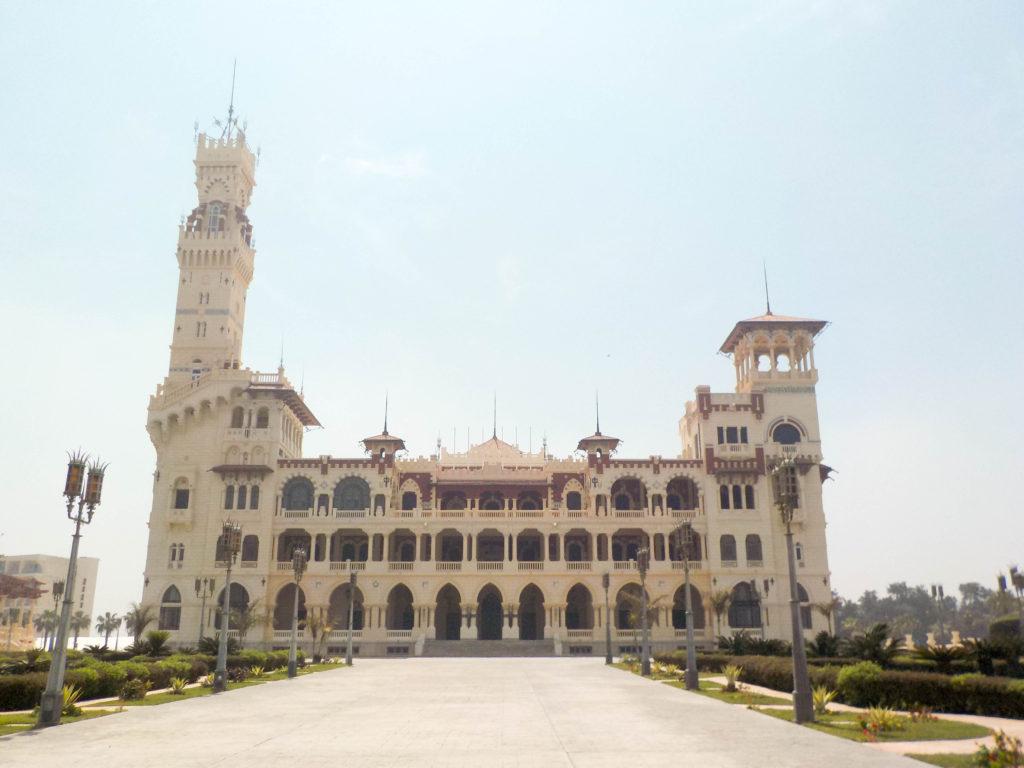 Montaza Palace Gardens palm trees Alexandria Egypt Africa Al-Haramlik Palace