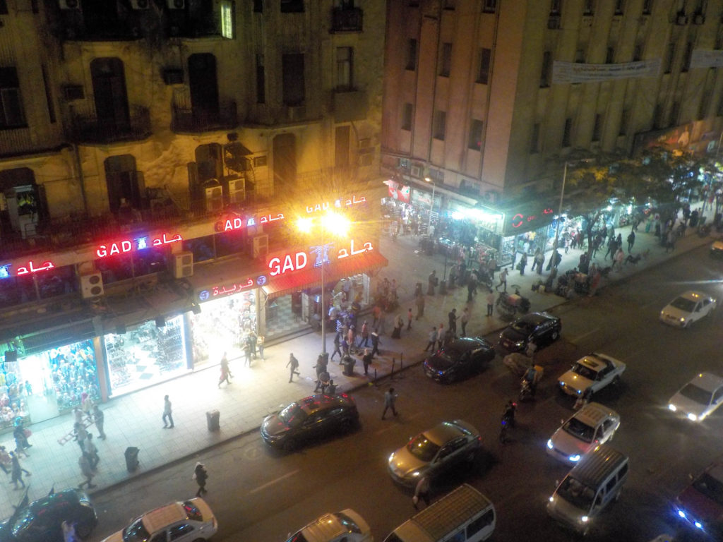 Cairo Downtown Egypt street Africa traffic night crossing the street
