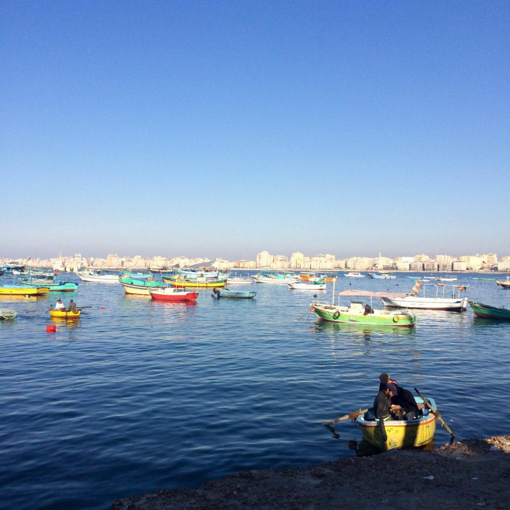 the Corniche Mediterranean Sea promenade Alexandria Egypt Africa harbour