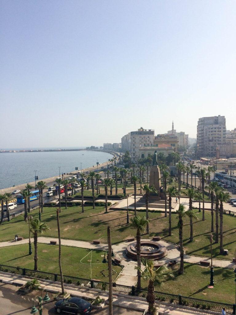 the Corniche Mediterranean Sea promenade Alexandria Egypt Africa Saad Zaghloul Park