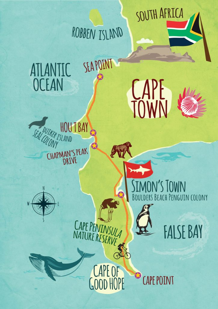 Cape Peninsula Day Tour Baz Bus map