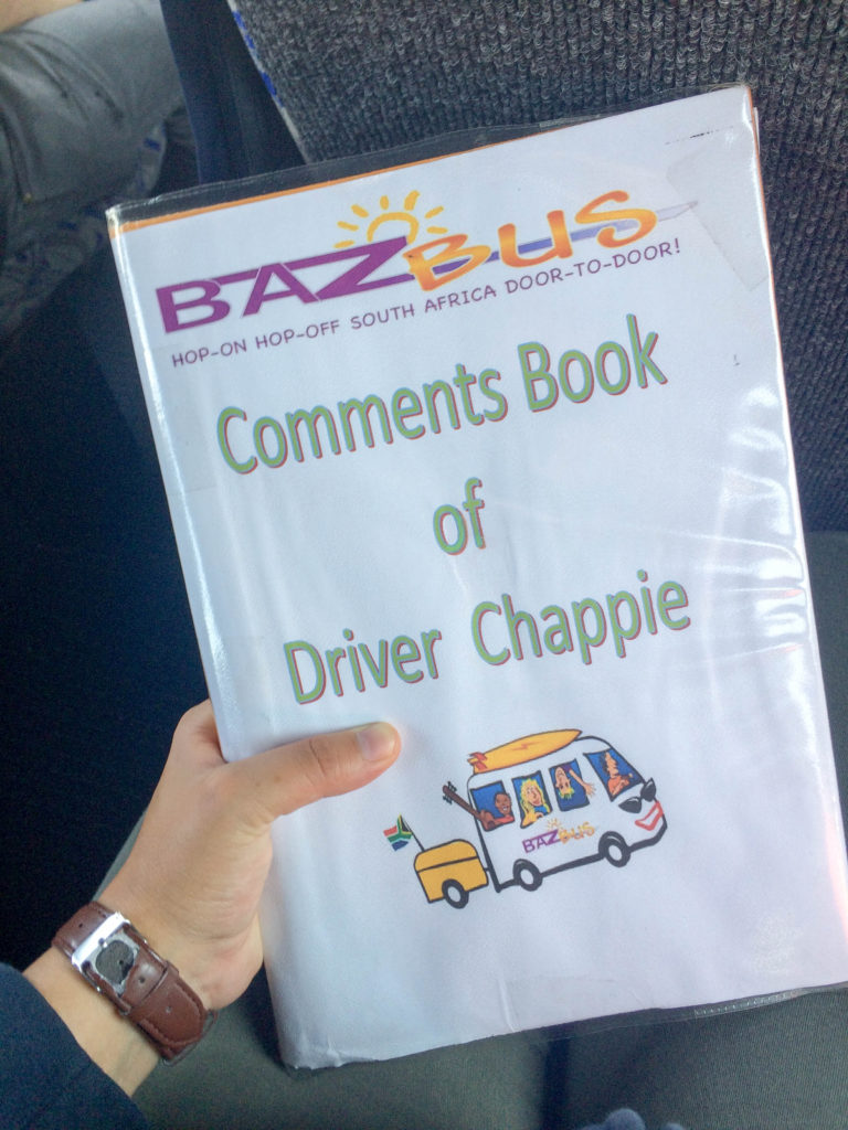 Baz Bus travelling around South Africa backpacking comments book