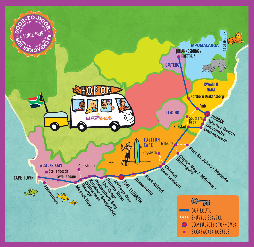Baz Bus travelling around South Africa backpacking map