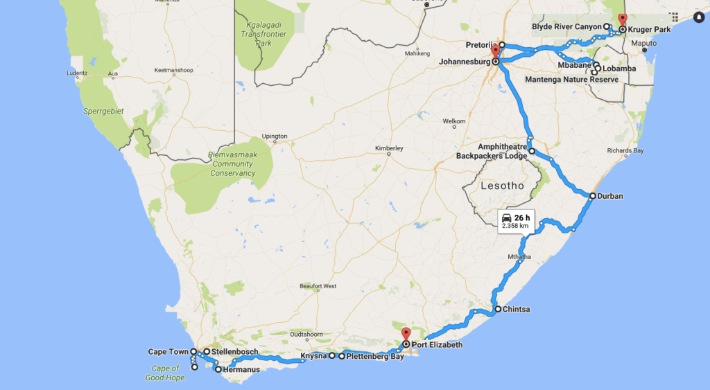 travel itinerary South Africa Swaziland trip map