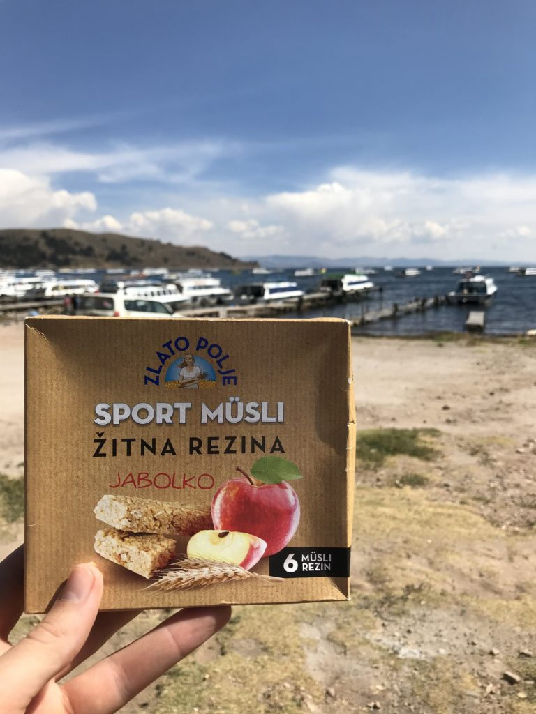 apple muesli bar Sport musli Zlato polje Žito Copacabana Lake Titicaca Bolivia South America