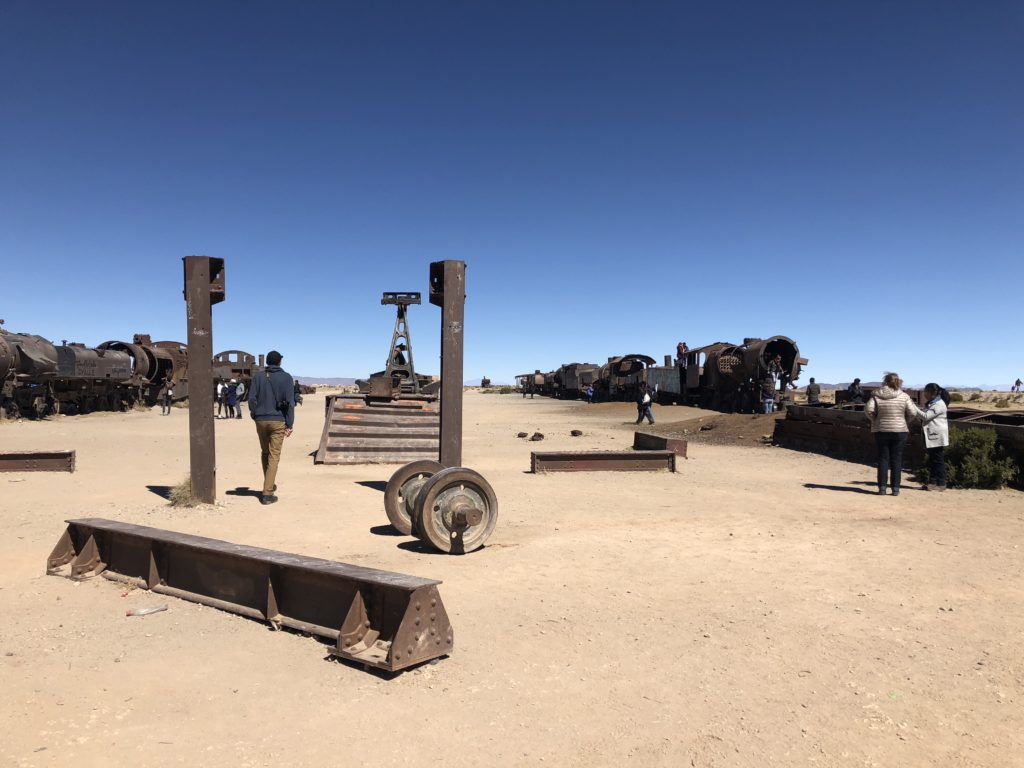 El cementerio de trenes train cementery Salar de Uyuni salt flats and Reserva Nacional de Fauna Andina Eduardo Avaroa tour Bolivia South America