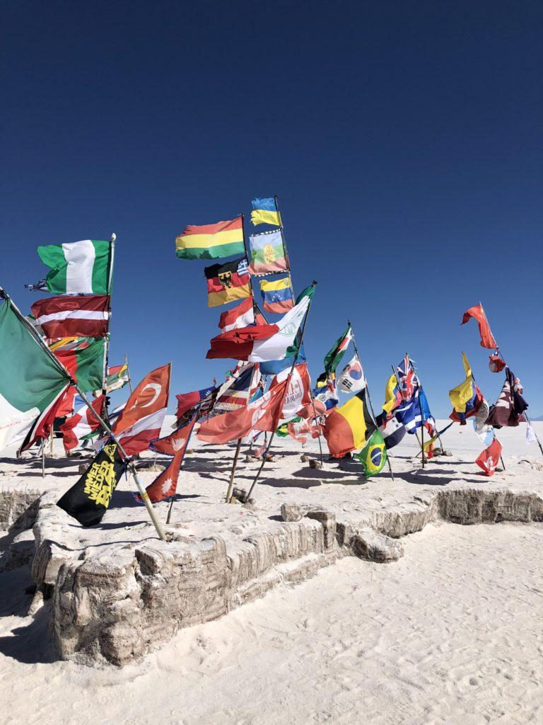 Flag island Salar de Uyuni salt flats and Reserva Nacional de Fauna Andina Eduardo Avaroa tour Bolivia South America