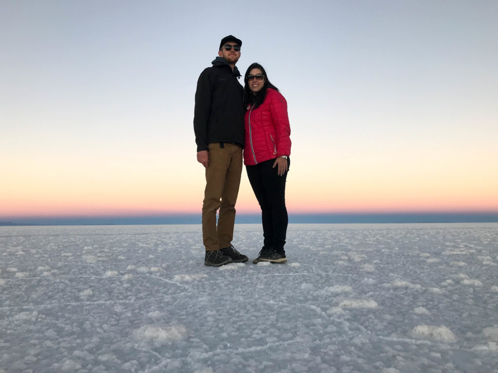 sunset Salar de Uyuni salt flats and Reserva Nacional de Fauna Andina Eduardo Avaroa tour Bolivia South America