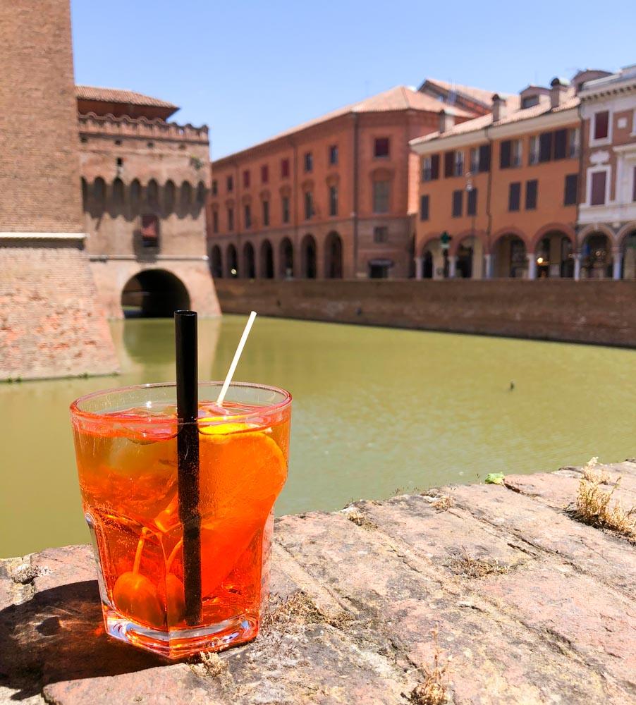 Italy Emilia-Romagna Ferrara aperol spritz Castello Estense