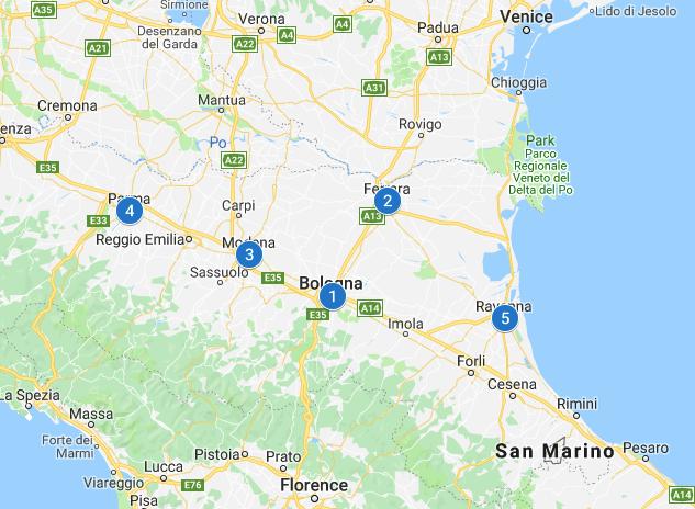 Italy Emilia-Romagna map