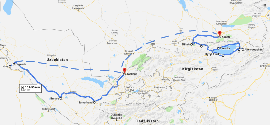 travel itinerary Kyrgyzstan Kazakhstan Uzbekistan Central Asia Silk Road map