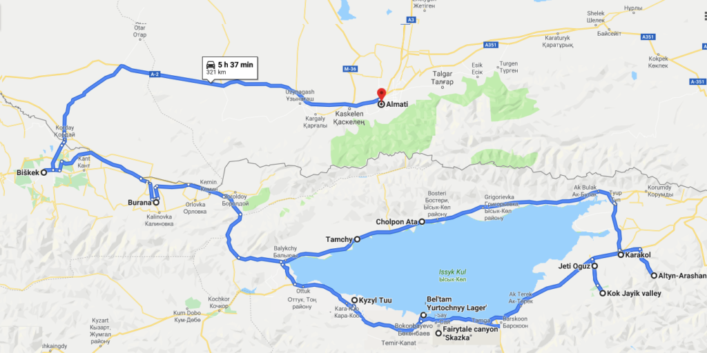 travel itinerary Kyrgyzstan Kazakhstan Central Asia