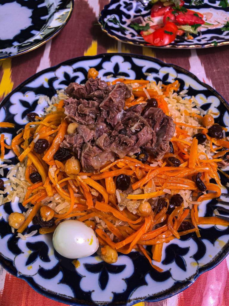 plov Chayxana Chinar restaurant Bukhara Uzbekistan Central Asia