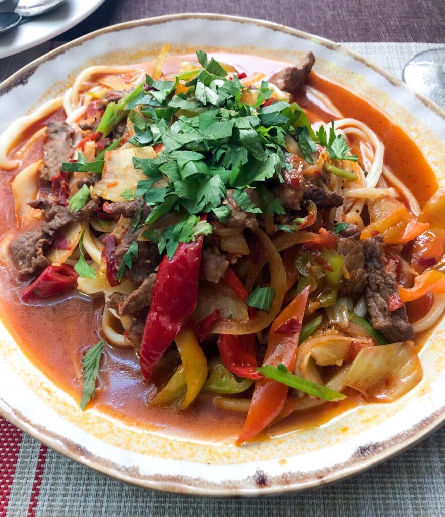 Lagman typical Kyrgyz food Karakol Kyrgyzstan Central Asia