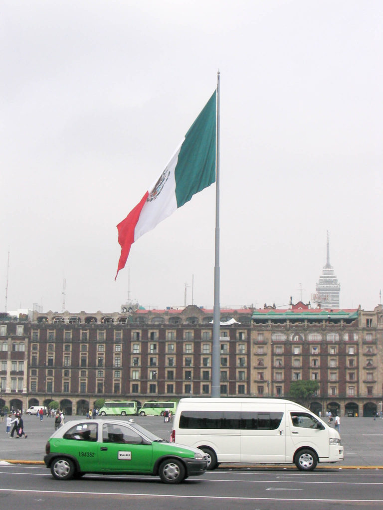 Zocalo Mexico City Mexican flag