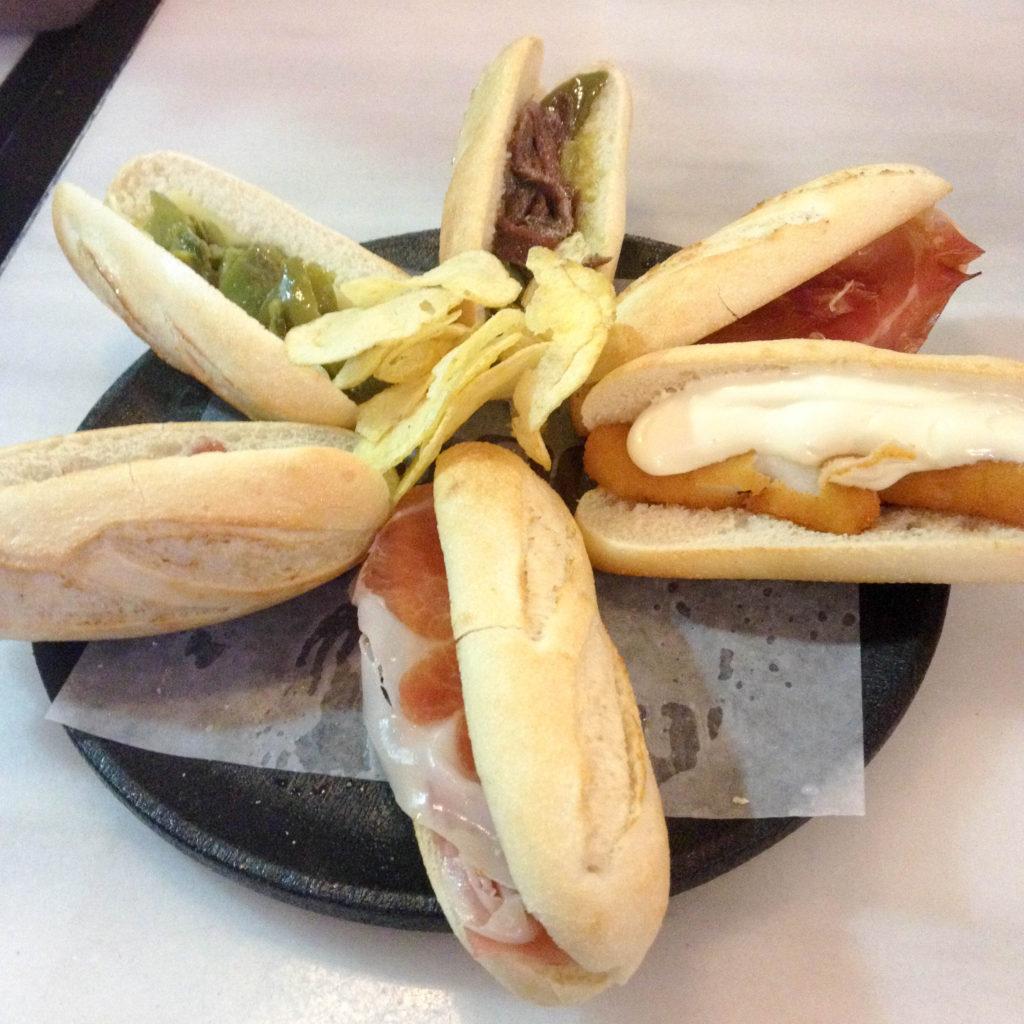 Burgos Castile and Leon Spain traditional Spanish food tapas 100 Montaditos
