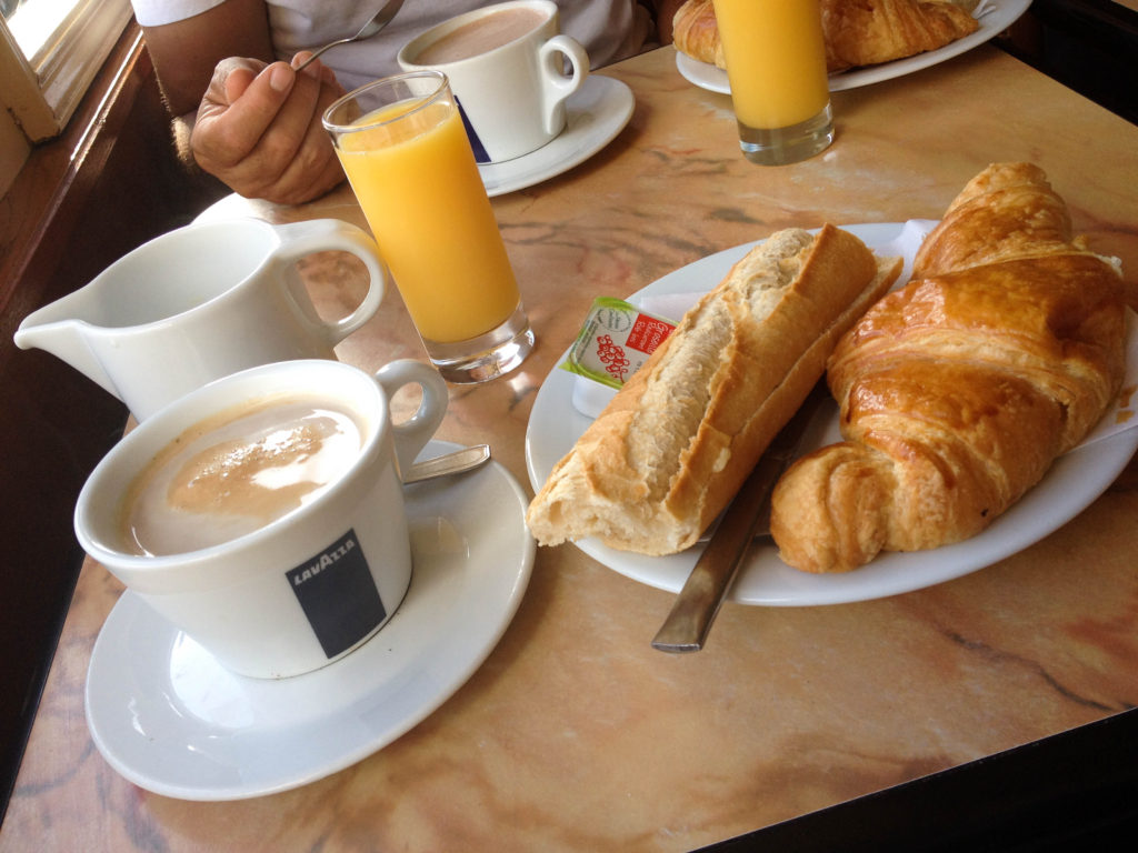 Biarritz France Basque country French typical food breakfast croissant French baguette