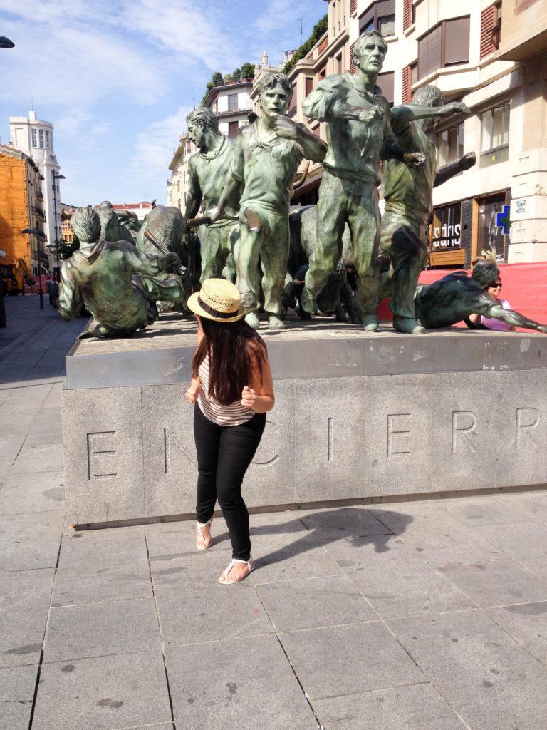 Pamplona Spain Navarre run with the bulls monument Vanja Vodenik