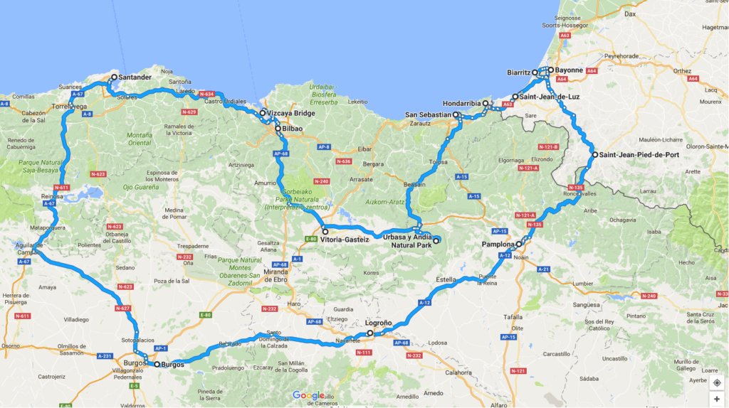 map travel itinerary Spain France Basque country