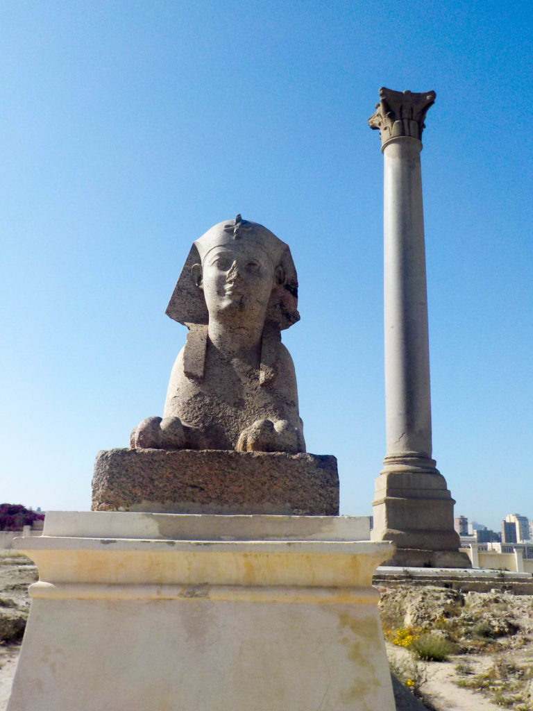 Pompey's Pillar Alexandria Egypt Africa archeological site sphinx column