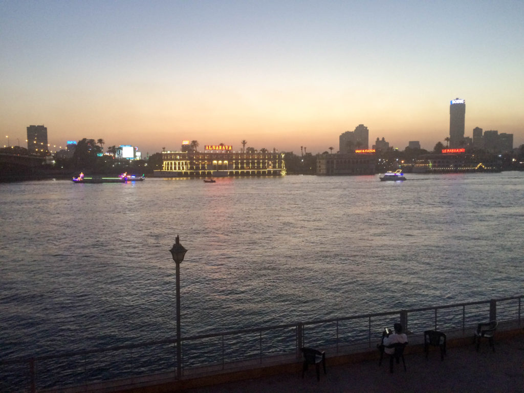 Nile river promenade at night Cairo Egypt Africa