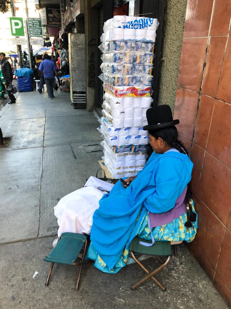 toilet paper seller La Paz Bolivia South America