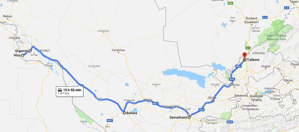 travel itinerary Uzbekistan Central Asia Silk Road map