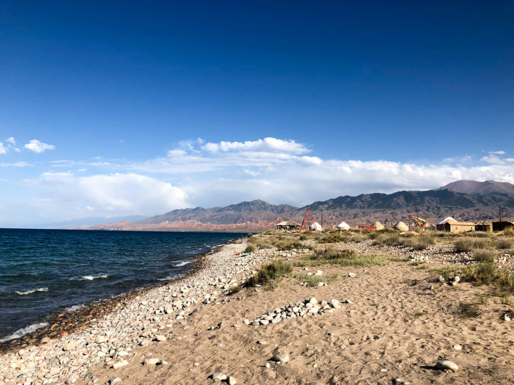 Issy Kul lake beach Bel'tam Yurt Camp Kyrgyzstan Central Asia